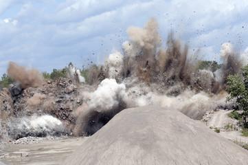 Quarry explosion at the granite pit