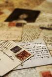 Vintage travel postcards with handwritten greetings poster