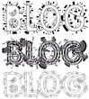 Blogging word design on white background