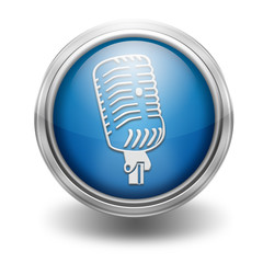 Icono borde metalico microfono