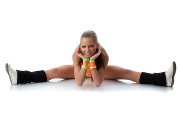 Girl in an orange  swimsuit. Fitness.