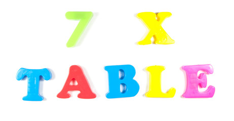 7 times table, written in fridge magnets