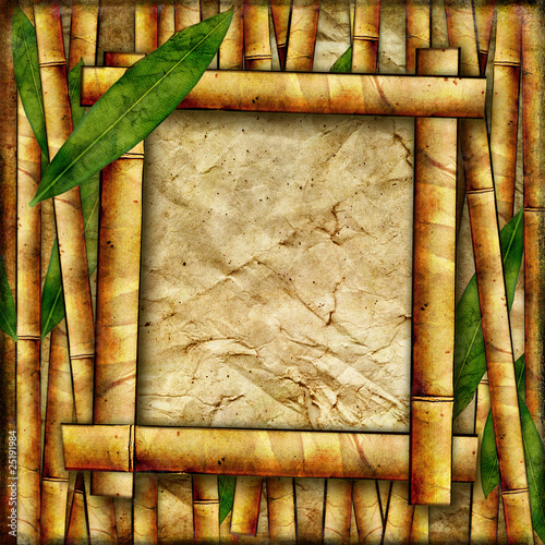 vintage bamboo background with frame
