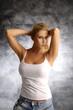 Blond girl in white shirt