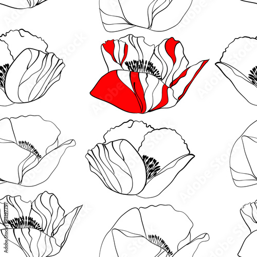Poppy flower seamless background