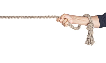 Hand pull a rope