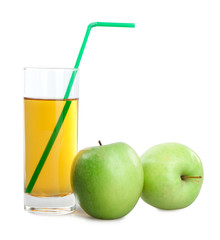 green apples and juice