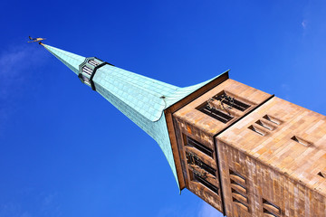 Turm der Marktkirche St. Nikolai in Hameln, Deutschland