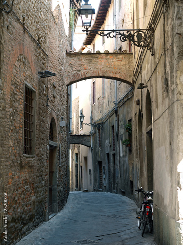 'Via della torre' in the old town of Pistoia, Tuscany, Italy