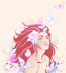 background with girl and butterflies