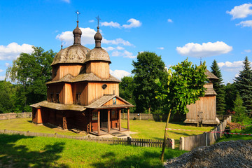 Historical wooden church in polish heritage park
