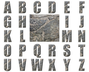 Natural Grey Stone Texture Alphabet