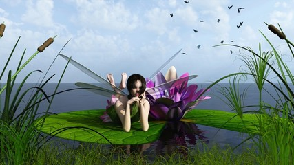 Waterlily Fairy on the Lake