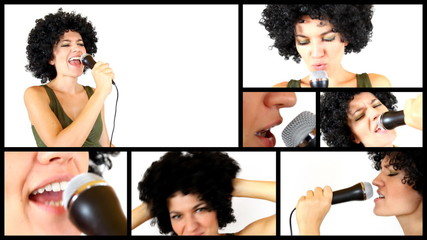 Woman with afro, isolated on white background, montage