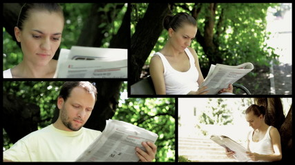 Man and woman reading newspaper, montage