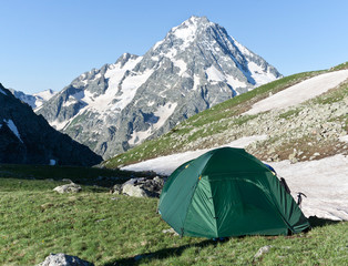 Green camping tent on sunny grassland.