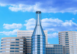 High-altitude glass buildings with the sky and clouds poster