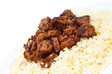 rice and meat isolated