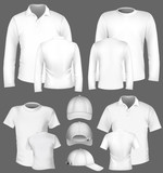 Men's t-shirt design template and baseball cap.