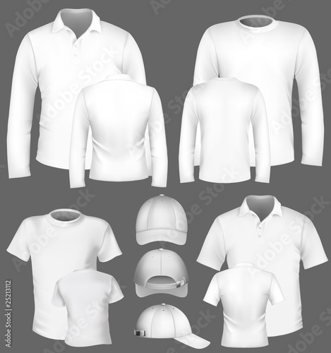 Men's t-shirt design template and baseball cap.
