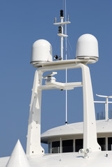 Radar and aerials on superyacht. Cannes. Cote d'Azur. France