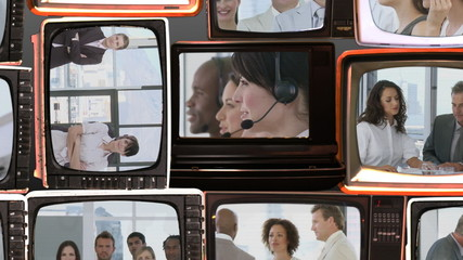 business life footage on 3D television screens