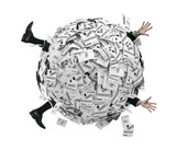 Businessman buried in sphere of financial invoices poster