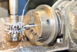 Turning lathe in action poster