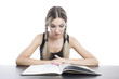 young pretty girl reading a book