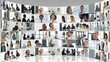 Abstract Business montage of people at work