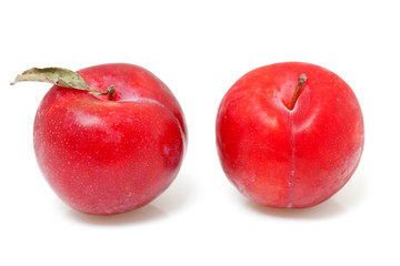 two red plums over white background