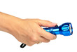Blue metal LED flashlight in hand