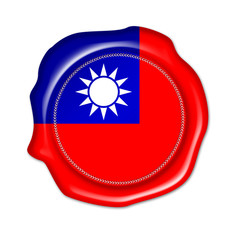taiwan button, seal, stamp, blank flag