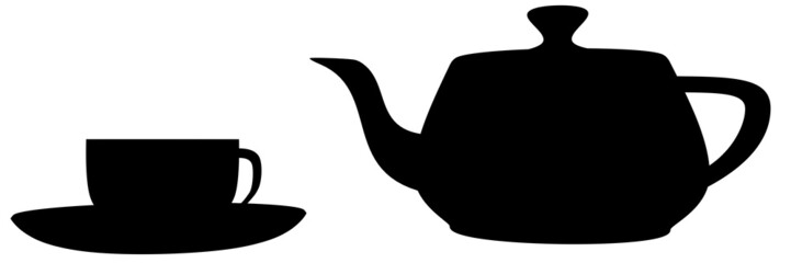 A teapot and a teacup in shadow
