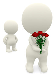 3D man giving flowers