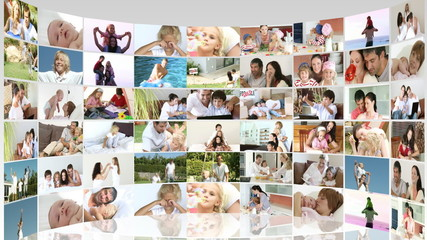Family footage collage in high definition