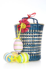 Basket with the painted eggs