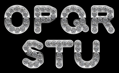 Silver O, P, R, S, T, Q, U letters incrusted with diamonds