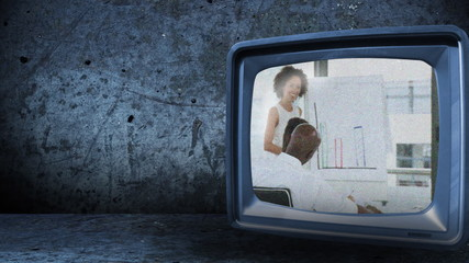 multi-racial businessteam footage on a 3D television screen