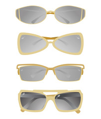 Collection of glasses with a gold frame