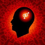 Interlocked Gender Sign in Human Head. poster