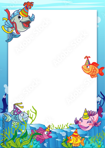Frame with various fish