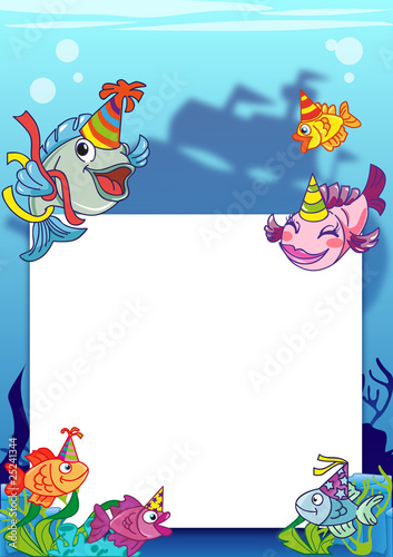 Frame with various fish and pirate ship