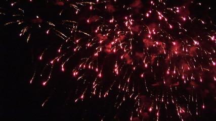 Exploding red fireworks
