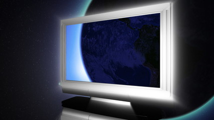 globe on LCD television