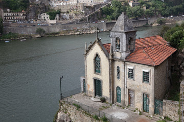 Old church at the Douro river in Porto, Portugal