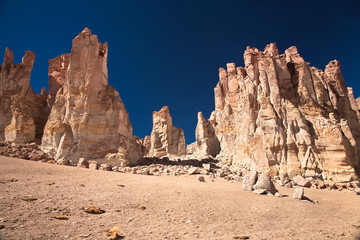Rock cathedrals in Salar de Tara, Chile