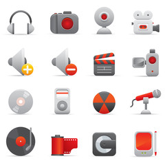 Multimedia Icons Set | Red Series 01