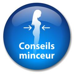 Bouton Web CONSEILS MINCEUR (santé poids dététique régime femme)