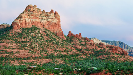 scenic red sandstone evening sunset at sedona, az